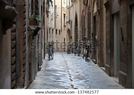 morning in the Tuscan town - stock photo