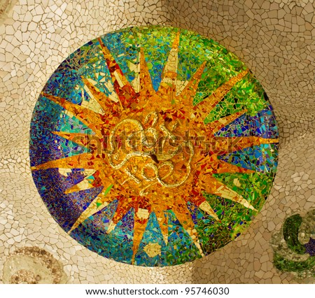mosaic on the ceiling of the Hypostyle Hall in Parc Guell in Barcelona, Spain - stock photo