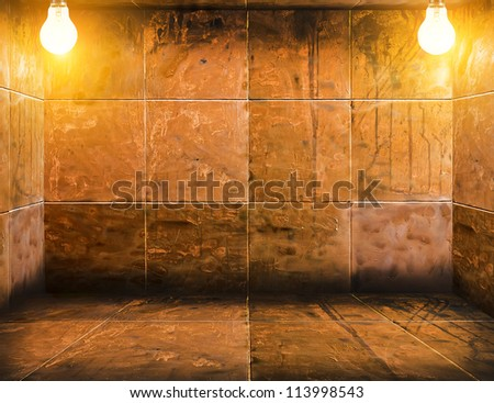 mosaic room with lamps - stock photo