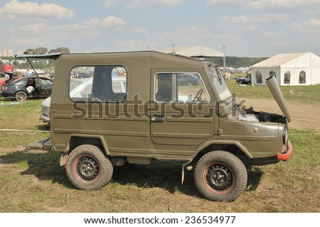 """MOSCOW, RUSSIA -  July 19, 2009: Soviet retro car LUAZ-969 """"Volyn"""" (hard top) at the exhibition Autoexotics, Moscow, Tushino, side view - stock photo"""