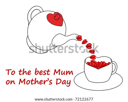 Mother's Day teapot pouring hearts into a heart shaped teacup - stock photo