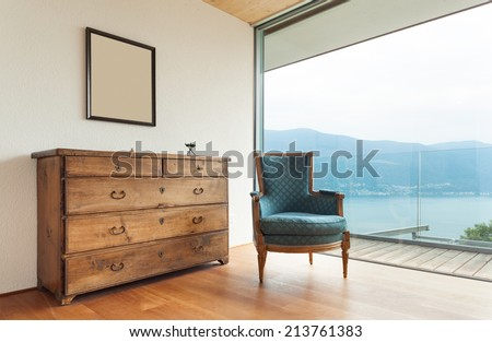 mountain house, modern architecture, interior, detail room - stock photo