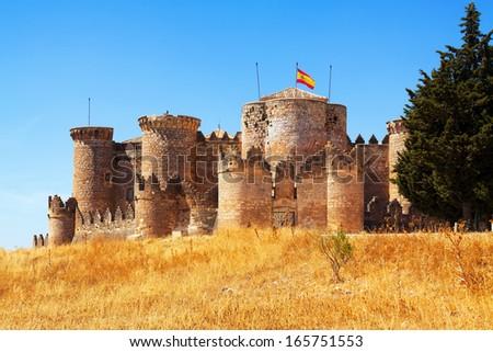 Mudejar castle in Belmonte.  Cuenca, Spain - stock photo