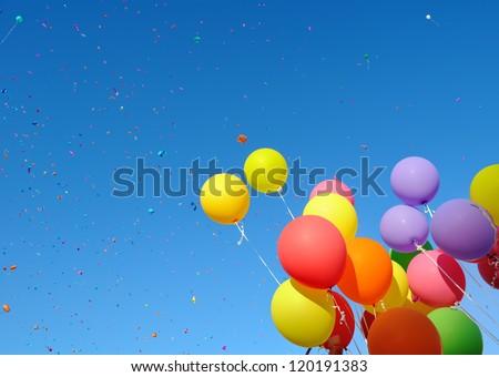 multicolored balloons and confetti in the city festival#7 - stock photo