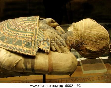 mummy of  pharaoh from a tomb - stock photo