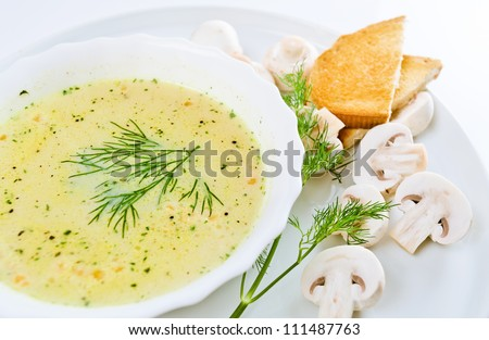 mushroom soup with dill, toasts and field mushrooms. - stock photo
