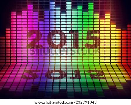 2015 music equalize isolated on black background - stock photo