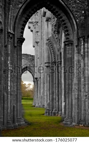 mysterious Glastonbury cathedral uk  empty shell is all that is left - stock photo