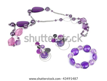 Nacklace, bracelet and earring - stock photo