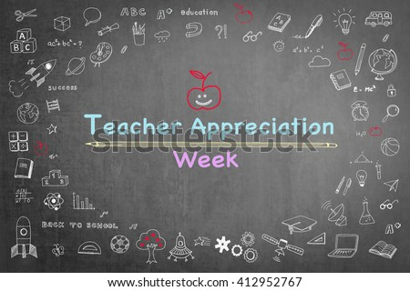 National teacher appreciation week text message on black chalkboard background wi/ cute doodle freehand sketch chalk drawing icon: Student's greeting for school lecturer academia: Happy teacher's day - stock photo
