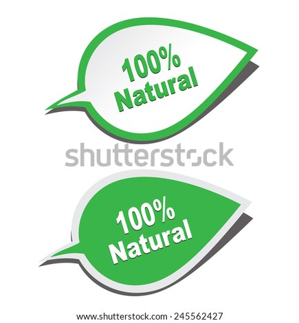 100% natural stickers - stock photo