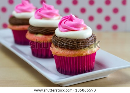 2 Neapolitan frosted cupcakes on square white plate with pink polka dot background - stock photo