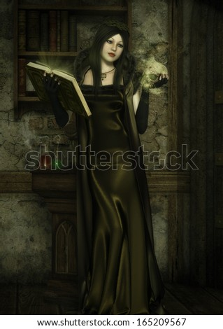 'Necromancer', digital illustration of female sorceress casting a spell of necromancy, holding a glowing skull, in long satin and fur robes, in her study surrounded by potions and old books. - stock photo
