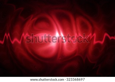 Neon ghosts in red color. Abstract squiggly bright distorted shiny pattern.                       - stock photo