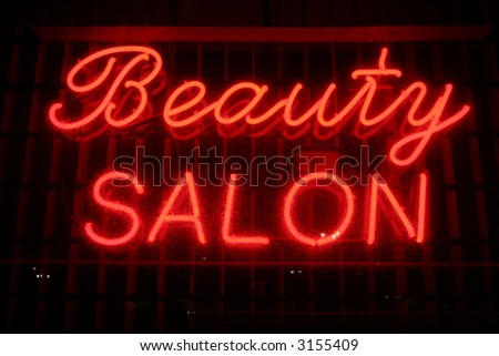 """""""neon sign"""" series """"beauty salon"""" - stock photo"""