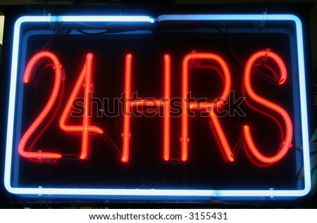 """neon sign"" series ""24 HRS"" - stock photo"