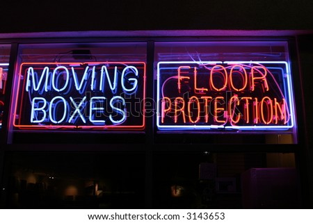 """""""neon sign series"""" """"moving boxes, floor protection"""" - stock photo"""