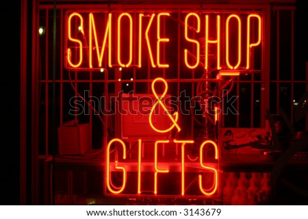 """neon sign series"" ""smoke shop & gifts"" - stock photo"