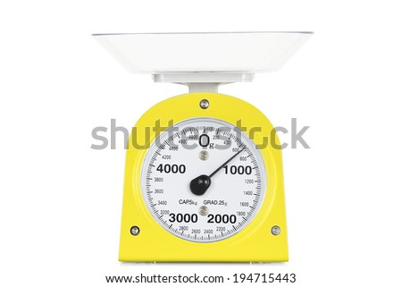 new kitchen scale isolated on white - stock photo