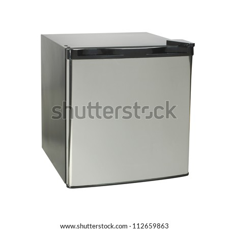 new mini fridge on a white background - stock photo