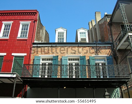 New Orleans French Quarter 2 block - stock photo