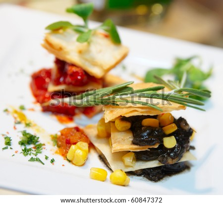"""New style"" mexican cuisine dish on porcelain plate - stock photo"
