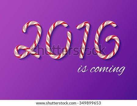 2016 New year card, Happy new year. Christmas Candy text effect. Candy cane digits. Illustration on a purple background. - stock photo