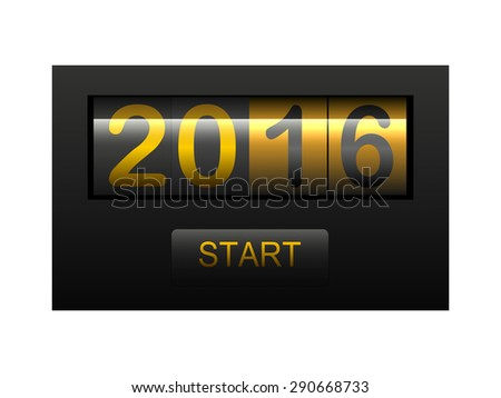 2016 New Year Card Odometer Style 3D Illustration - stock photo