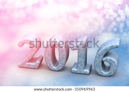 2016 New Year Christmas Frozen Text On The Snow Background - stock photo