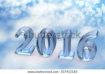 2016 New Year Christmas Glass Text On Snow Background - stock photo
