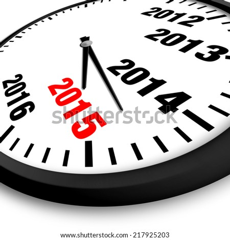 2015 New Year clock - stock photo