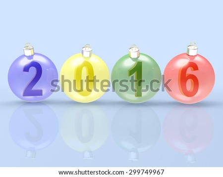 2016 New Year concept. Digits of the year in colorful glass Christmas balls on blue background  - stock photo