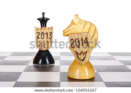 2014 New Year concept. Game with beforehand known winner - stock photo
