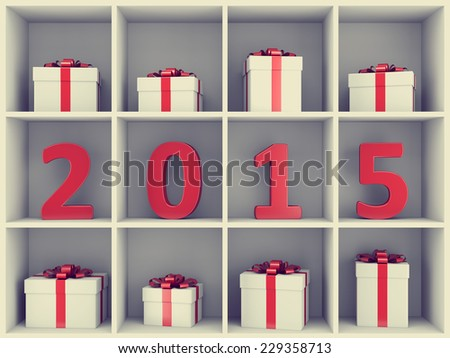 2015 new year concept. Red number characters and gift boxes placed on white book shelf. - stock photo