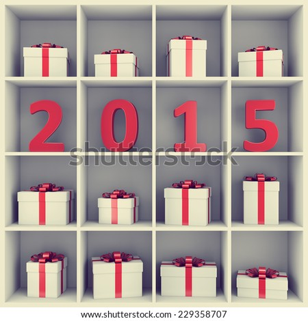 2015 new year concept. Red number characters and gift boxes placed on white square book shelf. - stock photo
