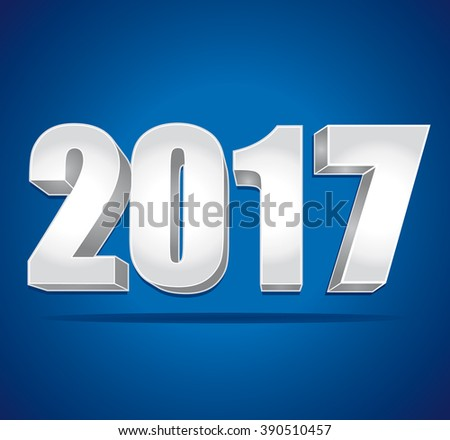2017 New Year 3d silver numbers on a blue background.  - stock photo