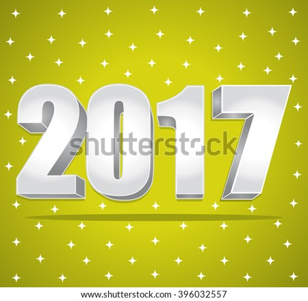 2017 New Year 3d silver numbers on a green starry background.  - stock photo