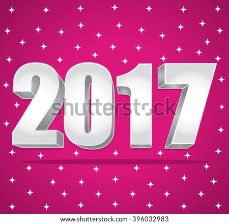 2017 New Year 3d silver numbers on a pink starry background. - stock photo