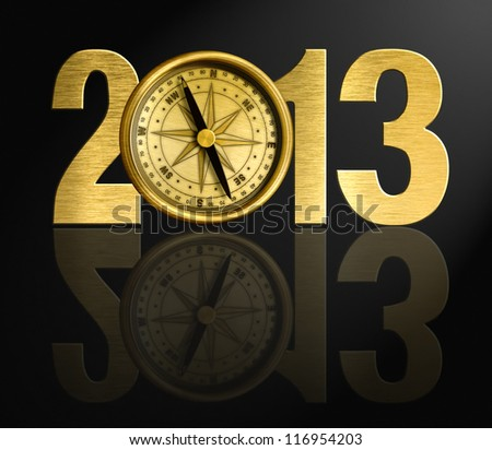 2013 new year digits with golden compass illustration - stock photo