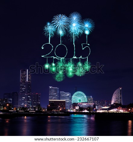 2015 New Year Fireworks celebrating over  marina bay in Yokohama City, Japan - stock photo