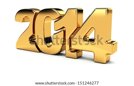 2014 New Year golden number on the white background. - stock photo
