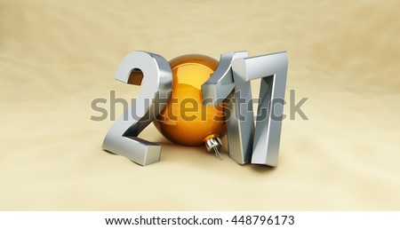 2017 New Year holidays on the beach, 3D rendering - stock photo