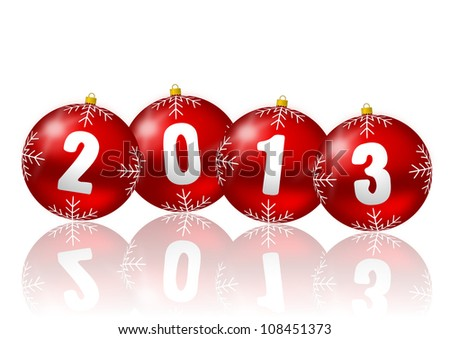 2013 new year illustration with christmas balls - stock photo