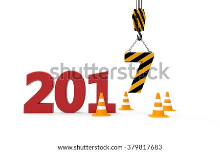 2017 new year in progress isolated on a white background - stock photo