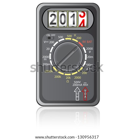 2014 New Year Multimeter  on a white background,  illustration. - stock photo