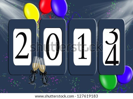 2014 New year odometer with balloons and confetti - stock photo