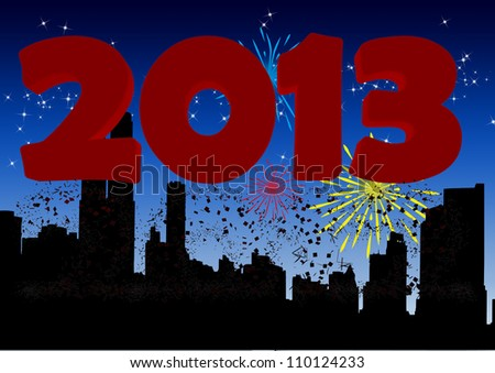 2013 New Year's Eve greeting card - stock photo