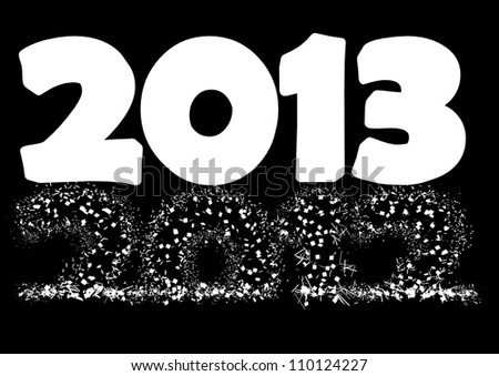 2013 New Year's Eve greeting card  as a alpha mask - stock photo