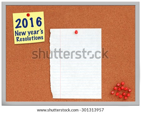 2016 New year's resolutions note on cork board with white paper - stock photo