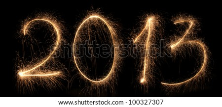 2013 new year, salute, Bengal fires, figures - stock photo